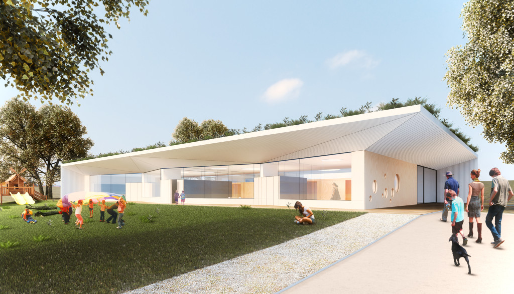 Geplanter Kindergarten in Moosdorf; Rendering: Architekturkantine